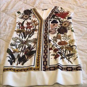 Zara A-line mini dress White with flowers